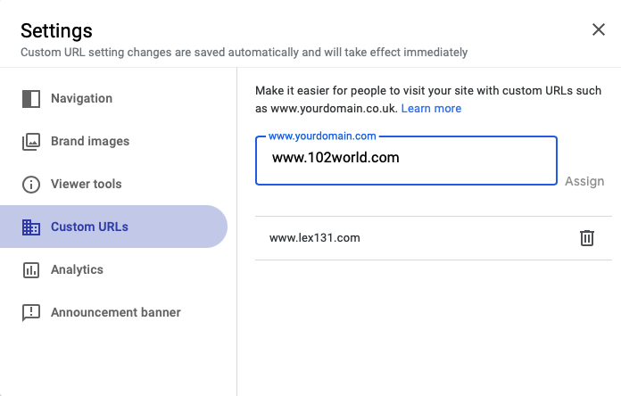 Linked your Domain to New Google Sites